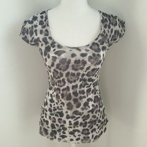 Bebe Animal Print Cut Out Top M